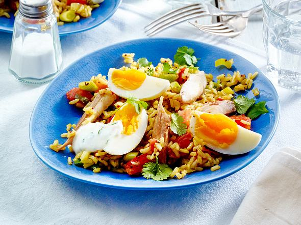 Reis mit hartgekochtem Ei und pochierter Makrele Rezept