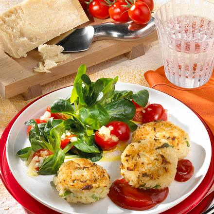 Reis-Frikadellen mit Salat Rezept