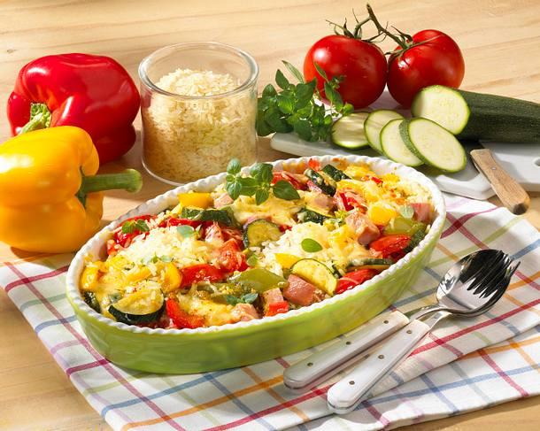 Reis-Gemüse-Auflauf mit Käse Rezept