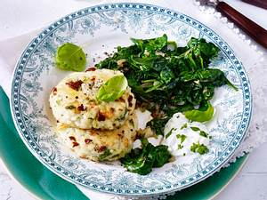 Reis-Küchlein mit Spinat Rezept
