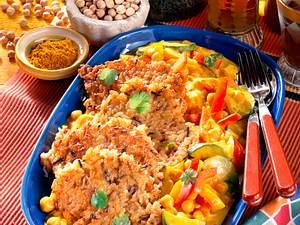 Reis-Plätzchen mit Gemüsecurry Rezept