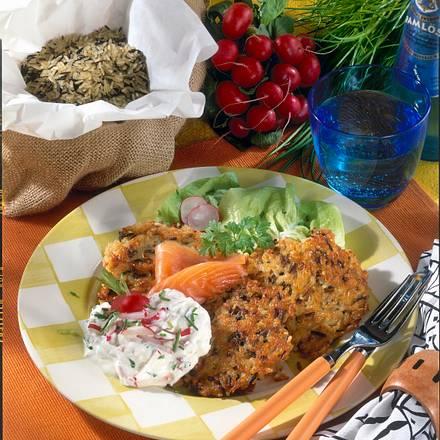 Reis-Puffer zu Radieschen-Quark Rezept