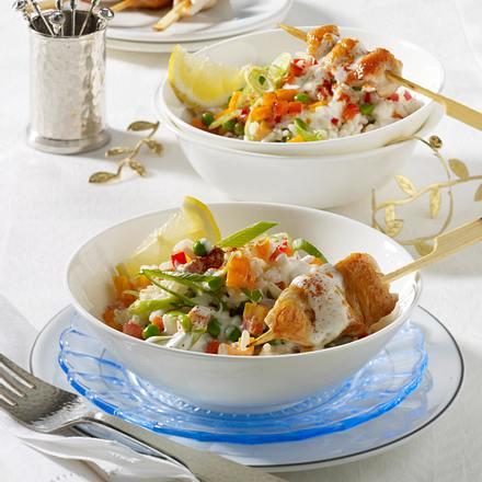 Reis-Salat mit Mini-Hähnchen-Spießen Rezept