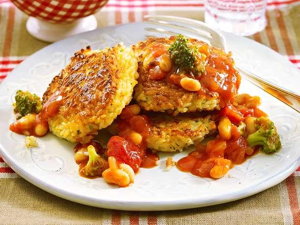 Reisbratlinge mit Tomaten-Gemüse-Soße Rezept