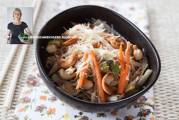 Reisnudeln mit Möhren und Weißkohl Rezept
