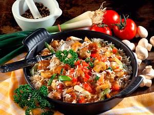 Reispfanne mit Brätklößchen Rezept