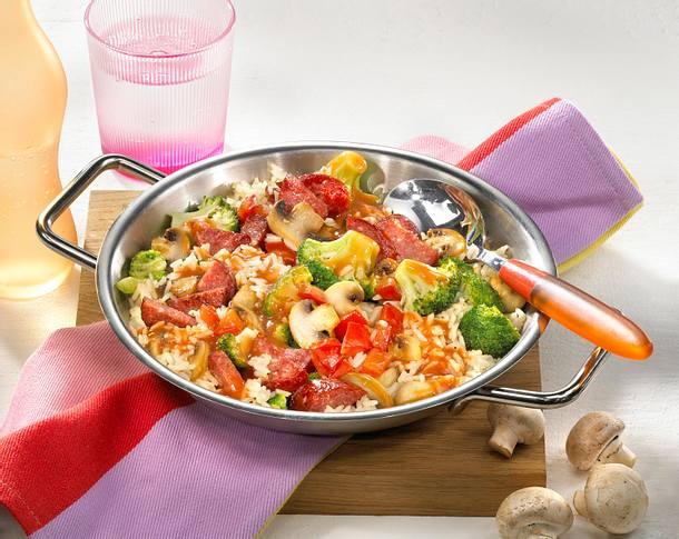 Reispfanne mit Cabanossi Rezept