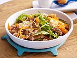 Reispfanne mit Steakstreifen und Möhren Rezept