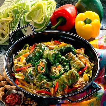 Reisrouladen auf Gemüse Rezept