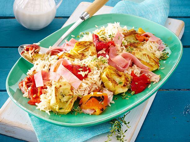 Reissalat mit Artischocken, Kochschinken und Joghurt-Dressing Rezept