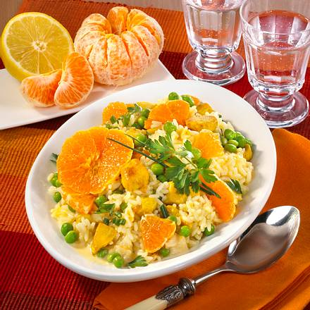 Reissalat mit Clementinenrädchen Rezept
