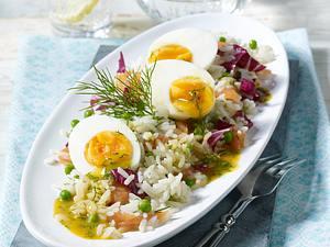 Reissalat mit Lachs in Honig-Senf-Soße Rezept