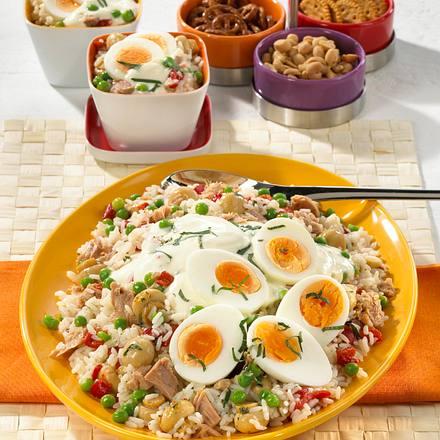 Reissalat mit Thunfisch und Putenbrust Rezept