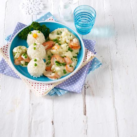 Reisschneemann mit bunter Gemüsesoße Rezept