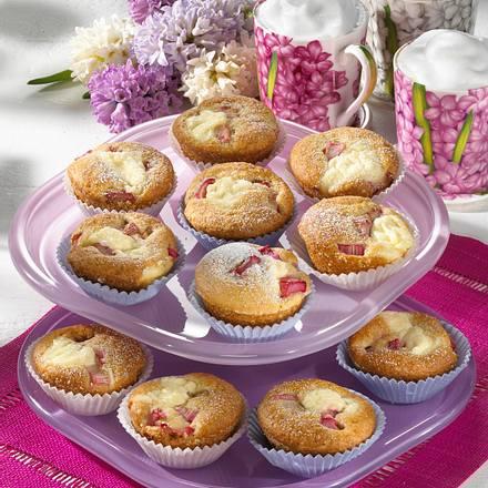Rhabarber-Käsekuchen-Muffins Rezept