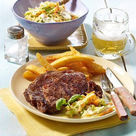 Rib Eye-Steak mit Cole Slaw Rezept
