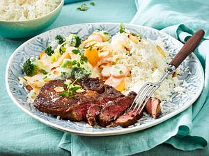 Rib eye Steak zu Rahmgemüse und Reis Rezept
