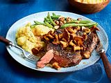 Ribeyesteak mit Pfifferlingen Rezept