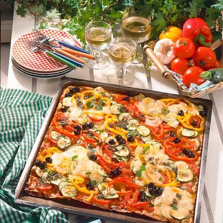 Riesen-Gemüsepfannkuchen vom Blech Rezept