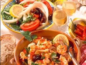 Riesengarnelen in Knoblauchöl mit Salat Rezept