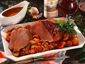 Rinderbraten in Chianti geschmort mit Möhren, Zwiebeln und Champignons Rezept