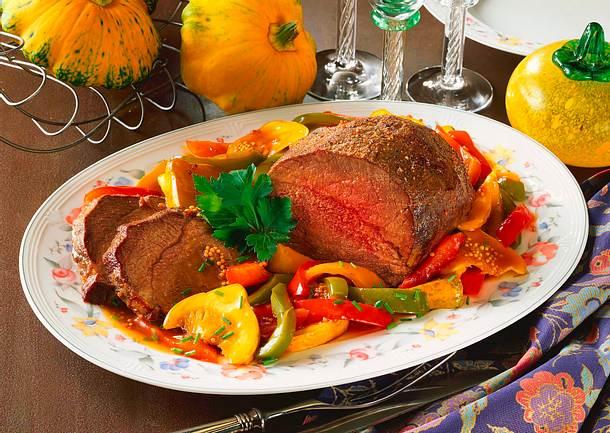 rinderbraten mit karamellisiertem gem se rezept chefkoch rezepte auf kochen. Black Bedroom Furniture Sets. Home Design Ideas