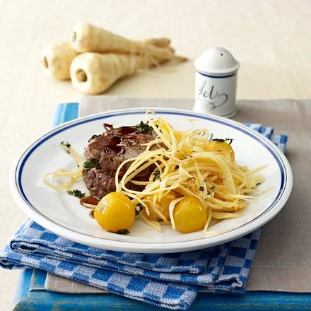 Rinderfilet-Steak mit Pastinaken-Spaghetti Rezept