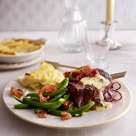 Rinderfiletsteak mit französischer Cognacsahne und Kartoffelgratin Rezept