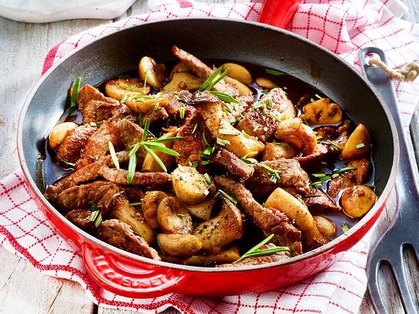 Rindergeschnetzeltes mit Balsamico-Pilzen