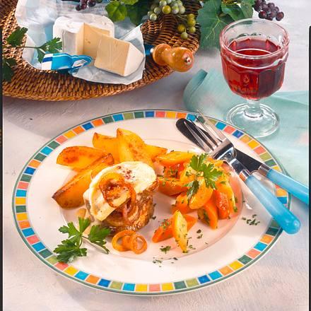 Rindermedaillons mit Zwiebel-Käse-Kruste Rezept