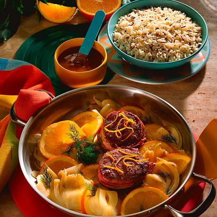 Rindersteaks mit Orangen-Fenchelgemüse Rezept