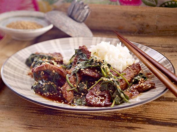 Rindfleisch mit Spinat Rezept