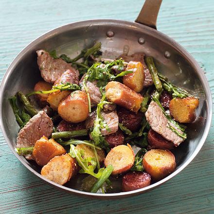 Rindfleischpfanne mit Chorizo,Rucola und Bohnen Rezept