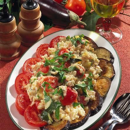 Risotto auf Auberginen und Tomaten Rezept