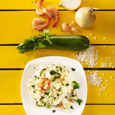 Risotto mit Zucchini und Garnelen Rezept