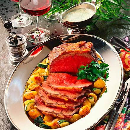 Roastbeef mit geschmortem Gemüse Rezept