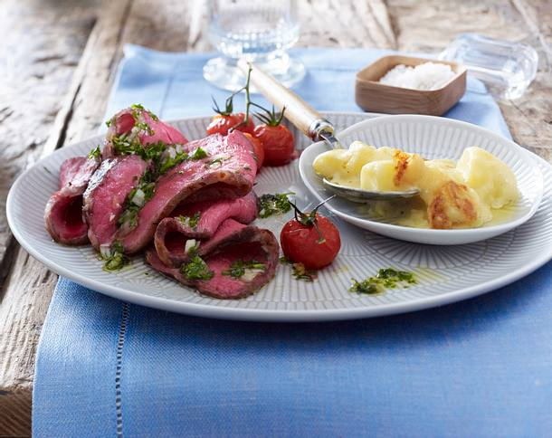 Roastbeef mit gratinierten Rahm-Kartoffeln Rezept