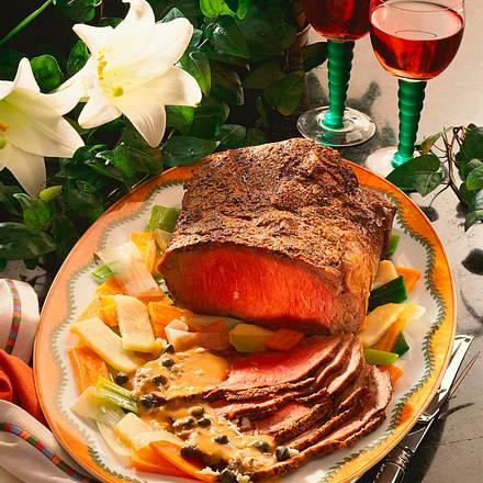 Roastbeef mit Kapern-Meerrettichsoße Rezept