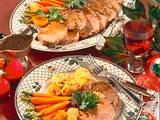 Roastbeef mit karamellisiertem Gemüse und überbackene Kartoffeln Rezept