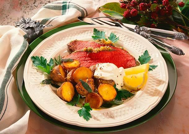 Roastbeef mit Kräuter- Zitronen-Kartoffeln Rezept
