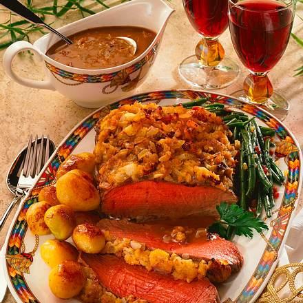 Roastbeef mit Meerrettich-Zwiebel-Kruste Rezept