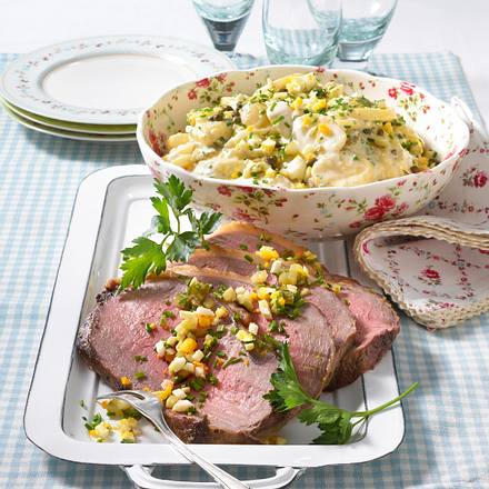 roastbeef mit remouladen kartoffelsalat rezept chefkoch rezepte auf kochen backen. Black Bedroom Furniture Sets. Home Design Ideas