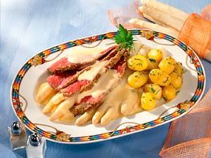 Roastbeef rosa mit Spargel und Frühkartoffeln Rezept
