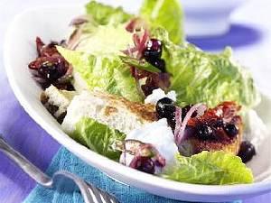 Römersalat mit scharfer Blaubeersalsa Rezept