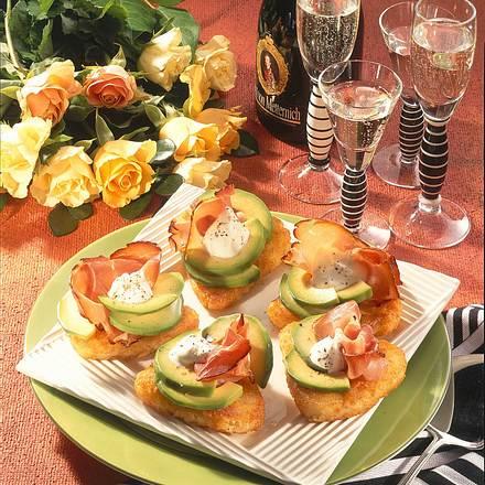 Rösti mit Avocado und Schinken Rezept