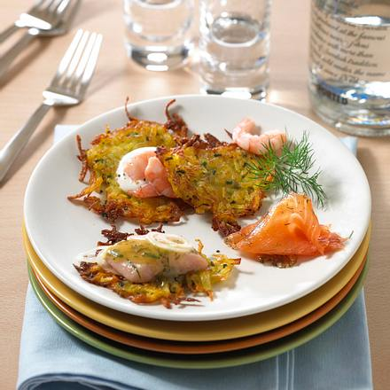 Rösti mit Graved Lachs, Senfheringen und Shrimps Rezept