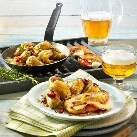 Röstkartoffel-Pfanne mit Pizza-Schnitzeln Rezept