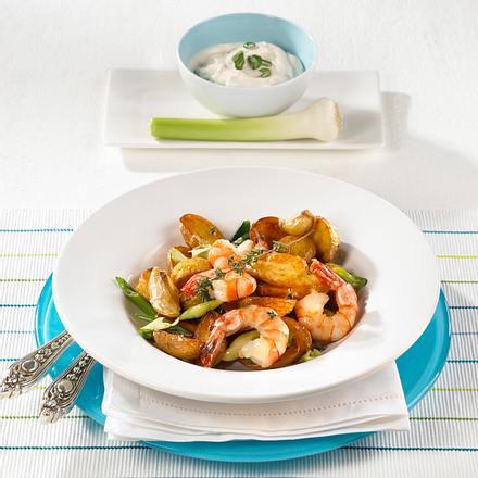 Röstkartoffeln mit Knoblauch & Garnelen Rezept