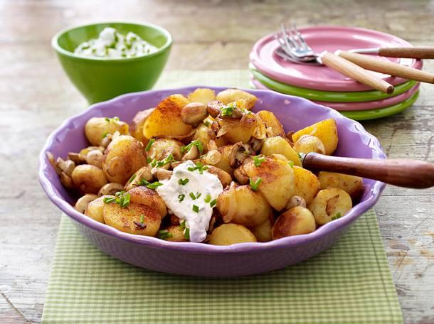 Röstkartoffeln mit Pilzen und Dip Rezept