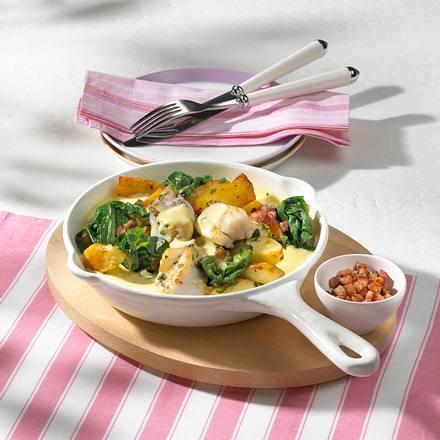 Röstkartoffelpfanne mit Bratfisch Rezept